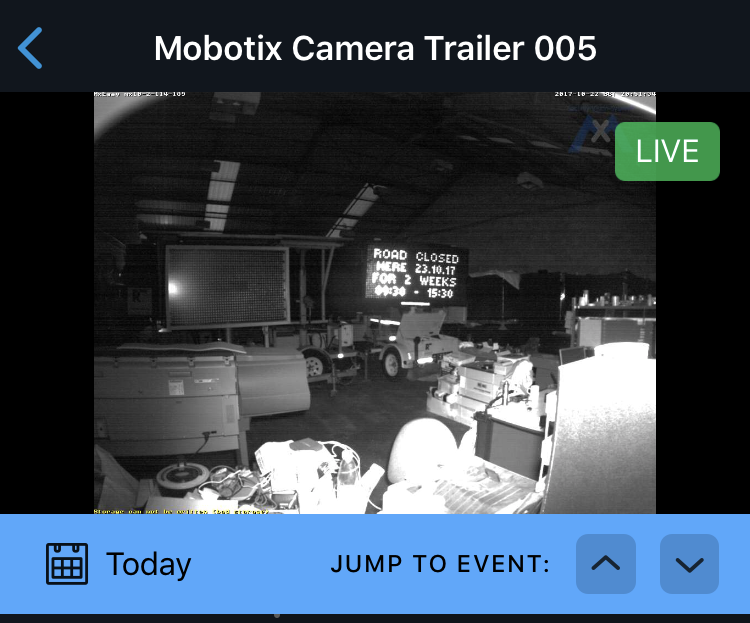 CCTV camera App showing live feed.